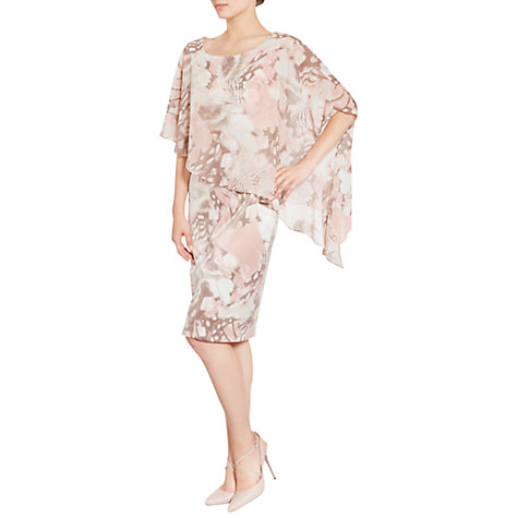 Buy Gina Bacconi Printed Satin Dress With Chiffon Cape, Taupe/Blush Online at johnlewis.com