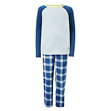 Buy John Lewis Children's Check Trouser Pyjamas, Blue/White Online at johnlewis.com