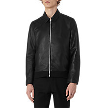 Buy Reiss Nicholas Collared Leather Jacket, Black Online at johnlewis.com