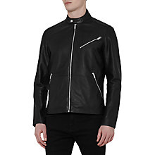 Buy Reiss Joubert Tab Collar Leather Jacket, Black Online at johnlewis.com