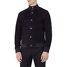 Buy Reiss Latte Suede Button Jacket, Navy Online at johnlewis.com