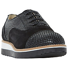 Buy Dune Wide Fit Furley Lace Up Flatform Brogues, Black Online at johnlewis.com