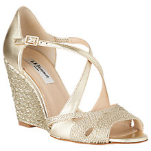 Buy L.K. Bennett Juliette Cross Strap Wedge Heeled Sandals, Gold Online at johnlewis.com