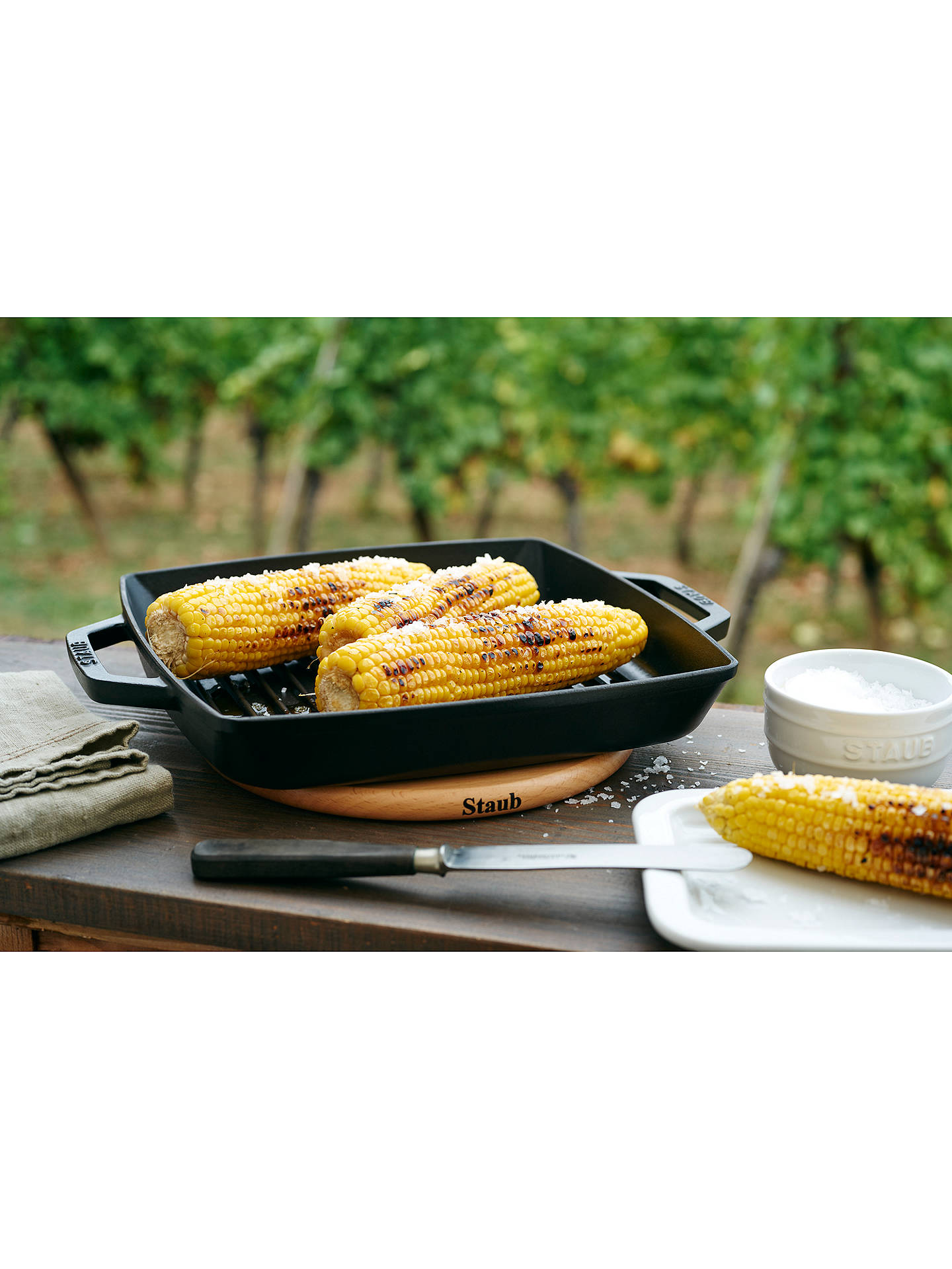 BuySTAUB Cast Iron Double Handle Grill Pan, Black, 23cm Online at johnlewis.com