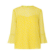 Buy L.K. Bennett Ros Print Silk Top, Yellow/Multi Online at johnlewis.com