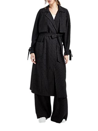 Grace & Oliver Martha Pinstripe Trench Coat, Navy/White
