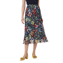 Buy L.K. Bennett Phia Floral Midi Silk Skirt, Multi Online at johnlewis.com