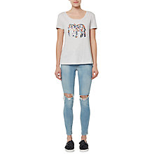 Buy French Connection Toyen Elephant Cotton T-Shirt, Light Grey/Multi Online at johnlewis.com