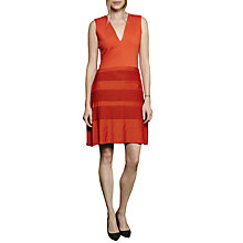 Buy French Connection Pleat Lace Jersey Dress, Orange Online at johnlewis.com