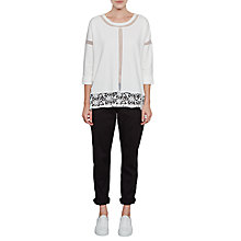 Buy French Connection Noland Mesh Panel Lace Top, White Online at johnlewis.com