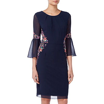 Raishma Pleated Sleeve Floral Dress, Navy