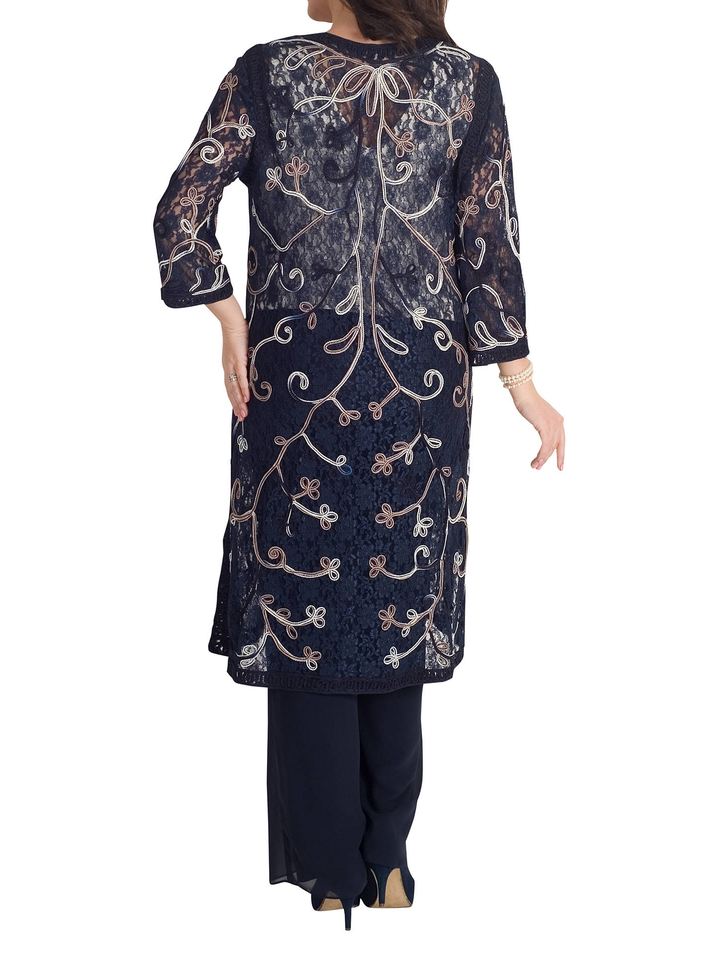 BuyChesca Cornelli Embroidered Lace Coat, Navy, 12-14 Online at johnlewis.com