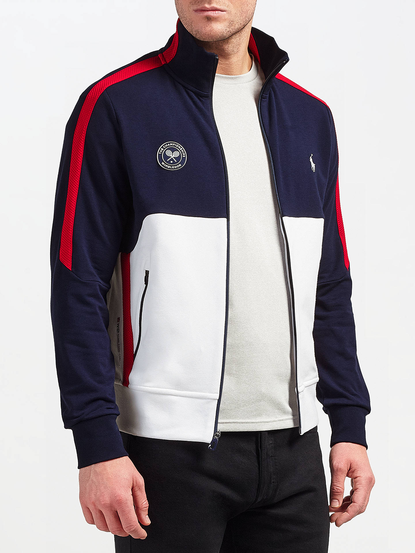 ab9815fa ... Buy Polo Ralph Lauren Support Wimbledon 2017 Stripe Track Jacket,  French Navy/Pure White ...