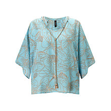 Buy Marc Cain Dragonfly Print Blouse, Mykonos Blue Online at johnlewis.com