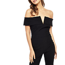 Buy Miss Selfridge Bardot Jumpsuit, Black Online at johnlewis.com