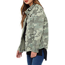Buy Miss Selfridge Army Camo Shacket, Khaki Online at johnlewis.com