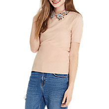 Buy Oasis Embroidered Collar Knit Top, Powder Pink Online at johnlewis.com