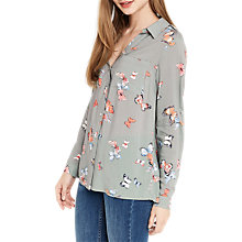 Buy Oasis Butterfly Print Shirt, Khaki Online at johnlewis.com