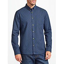 Buy John Lewis Dobby Cotton Shirt, Navy Online at johnlewis.com