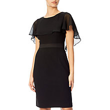 Buy Adrianna Papell Plus Size Crepe Capelet Sheath Dress, Black Online at johnlewis.com