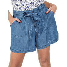 Buy Fat Face Chambray Tie Waist Shorts, Blue Online at johnlewis.com
