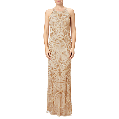 1930s Style Evening Dresses Adrianna Papell Petite Halterneck Fully Beaded Gown Gold £128.00 AT vintagedancer.com