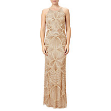 Buy Adrianna Papell Halterneck Fully Beaded Gown, Gold Online at johnlewis.com