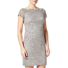Buy Adrianna Papell Off Shoulder Lace Sheath Dress, Silver Blue/Almond Online at johnlewis.com