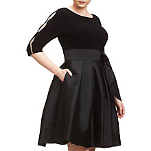 Buy Adrianna Papell Plus Size Taffeta Fit And Flare Dress, Black Online at johnlewis.com