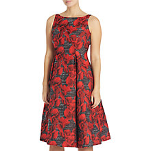 Buy Adrianna Papell Petite Sleeveless Floral Jacquard Tea Length Dress, Black/Crimson Online at johnlewis.com