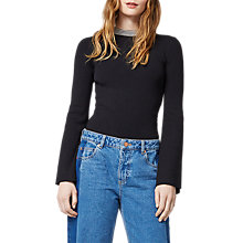 Buy Warehouse Tie Back Jumper, Black Online at johnlewis.com