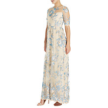 Buy Adrianna Papell Long Illusion Embroidered Mesh Gown, Thundercloud/Gold Online at johnlewis.com