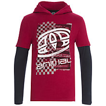 Buy Animal Boys' Long Sleeve Hooded T-Shirt, Red Online at johnlewis.com