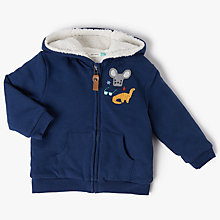 Buy John Lewis Baby Artroom Dino Badge Hoodie, Navy Online at johnlewis.com