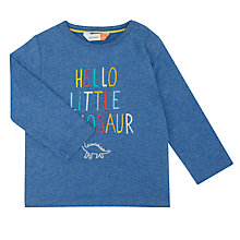 Buy John Lewis Baby Artroom Hello Little Dino Top, Navy Online at johnlewis.com