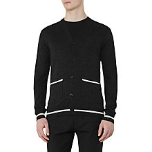 Buy Reiss Gaudi Piped Wool Cardigan, Charcoal Online at johnlewis.com