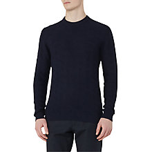 Buy Reiss Watson Textured Knit Cotton Jumper, Navy Online at johnlewis.com