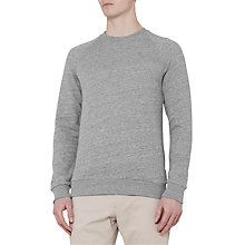 Buy Reiss Drava Loopback Cotton Sweatshirt, Light Grey Online at johnlewis.com