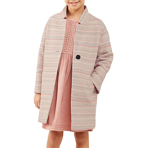 Buy Jigsaw Girls' Stripe Jacquard Coat Pink | John Lewis