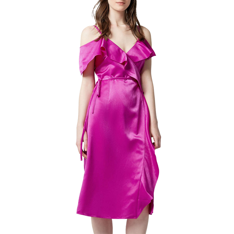 Warehouse Frill Midi Dress   Bright Pink at John Lewis