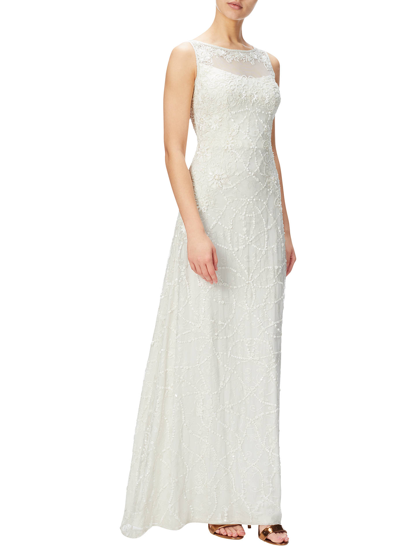 Adrianna Papell Illusion Beaded Lace Gown, Ivory at John Lewis ...