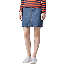 Buy Warehouse Denim Split Front Skirt, Mid Wash Denim Online at johnlewis.com