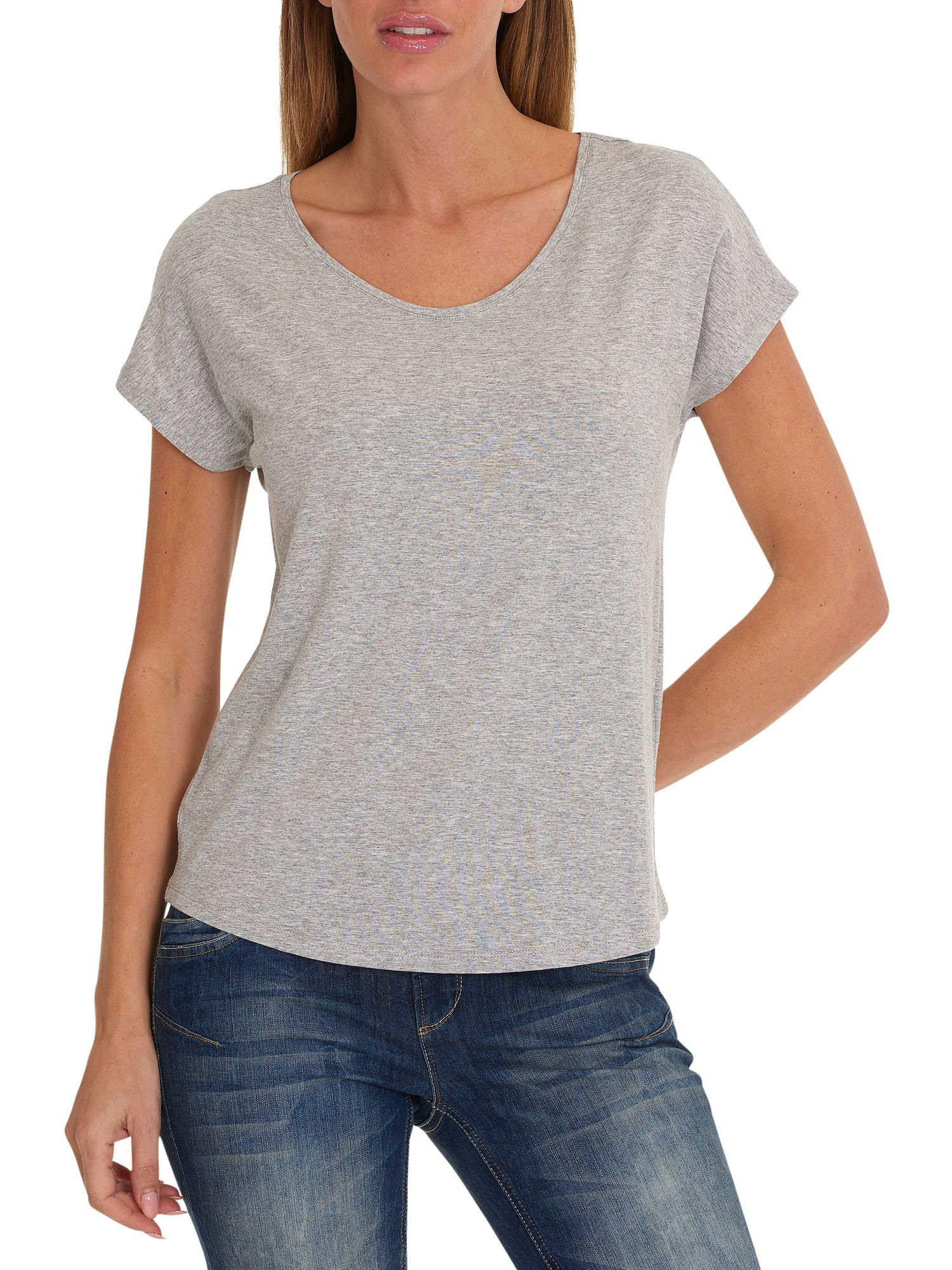 Betty Barclay Betty Barclay V-Neck Cap Sleeve T-Shirt, Light Silver Melange