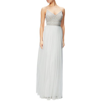 Adrianna Papell Beaded Bodice Sleeveless Gown, Ivory/Nude