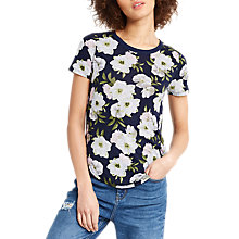 Buy Oasis Small Wild Printed T-Shirt, Navy Online at johnlewis.com