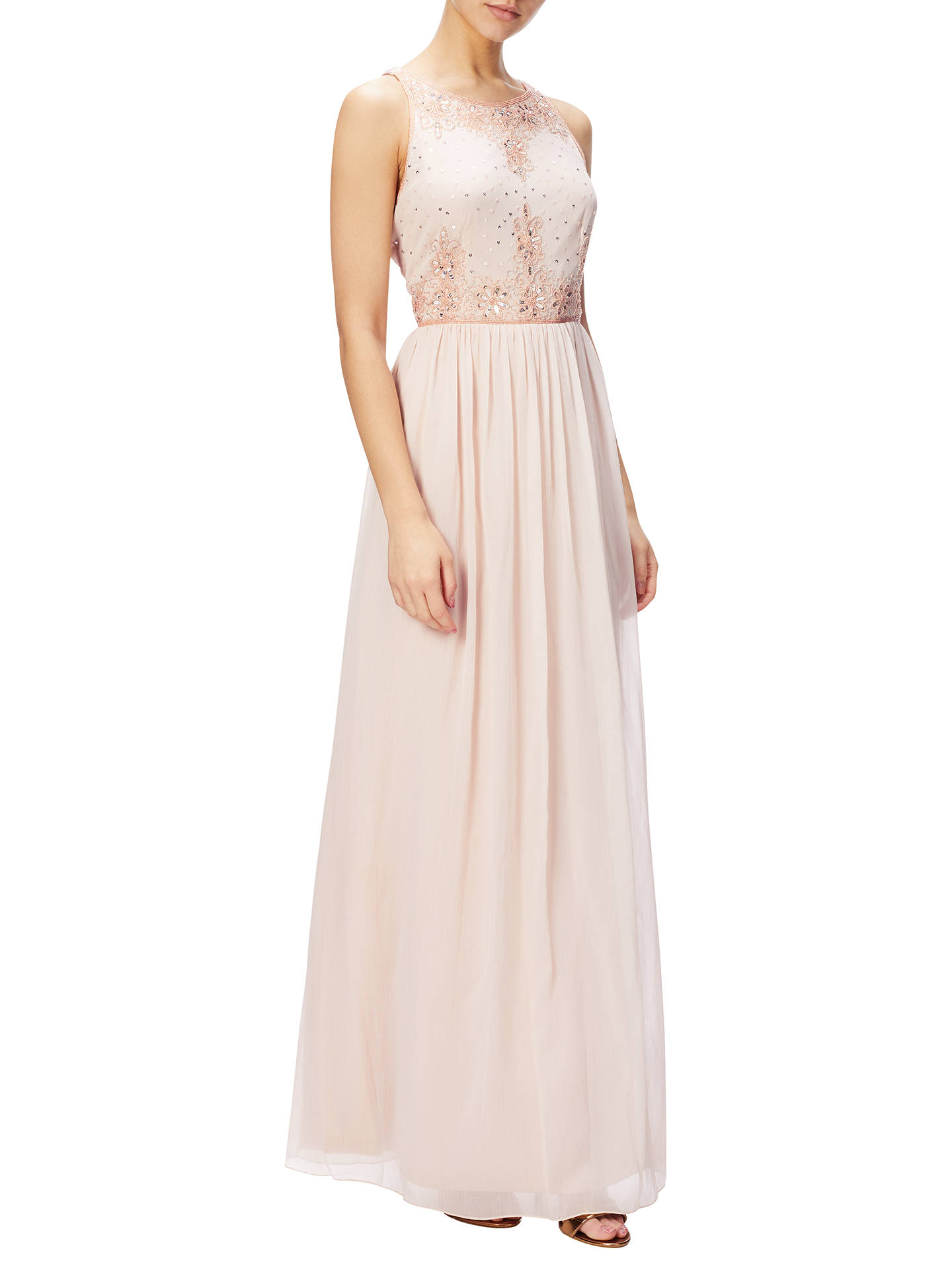 Adrianna Papell Halter Neckline Beaded Bodice Chiffon Gown, Blush at ...