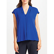Buy John Lewis Pleat Woven Jersey Top, Blue Online at johnlewis.com