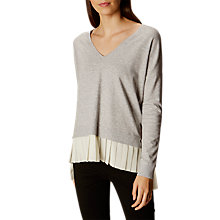 Buy Karen Millen Georgette Pleat Detail Jumper, Grey/Multi Online at johnlewis.com