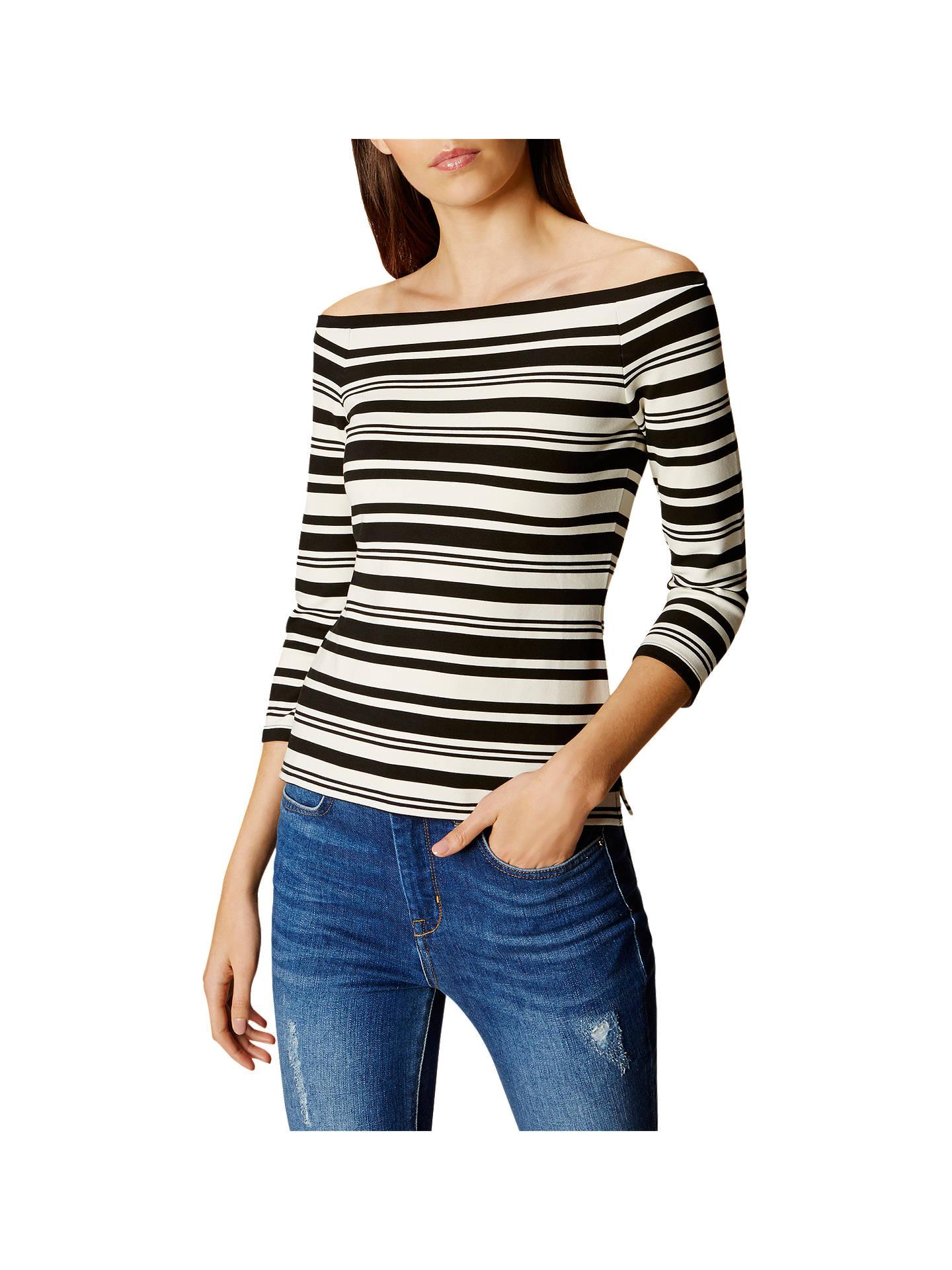 96833047828e98 BuyKaren Millen Bardot Shoulder Stripe Top