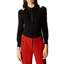 Buy Karen Millen Cold Shoulder Jersey Top, Black Online at johnlewis.com